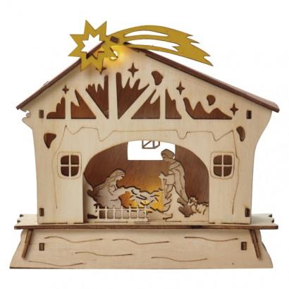 LED vánoční betlém, 18cm, 2× AAA, teplá bílá, časovač