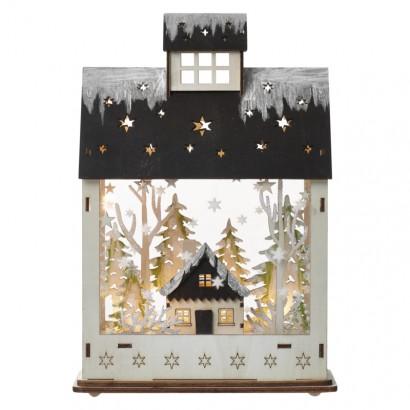 LED vánoční domek, 30cm, 2× AA, teplá bílá, časovač