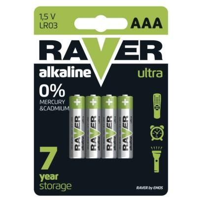 Alkalická baterie RAVER LR03 (AAA)-4 ks, blistr
