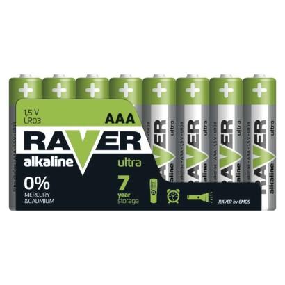 Alkalická baterie RAVER LR03 (AAA)-8 ks, fólie
