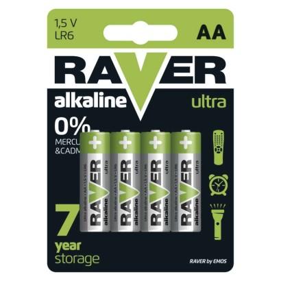 Alkalická baterie RAVER LR6 (AA)-4 ks, blistr