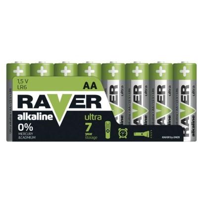 Alkalická baterie RAVER LR6 (AA)-8 ks, fólie
