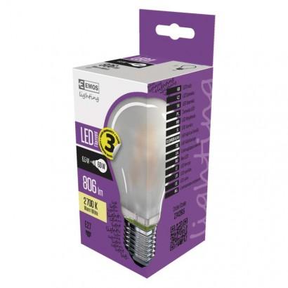 LED žárovka Filament A60 matná A++ 6,5W E27 teplá bílá