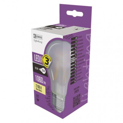 LED žárovka Filament matná A60 A++ 8,5W E27 teplá bílá