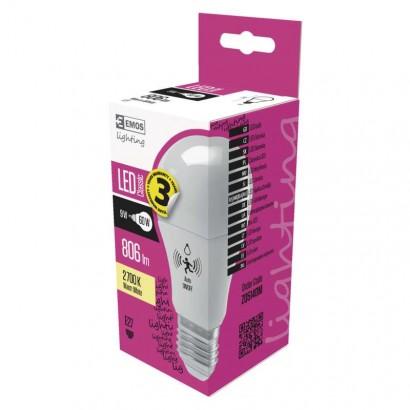LED žárovka Classic s pohybovým senzorem A60 9W E27 teplá b.