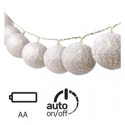 LED girlanda – koule bavlněné, stříbrné, 2× AA, teplá b., č.