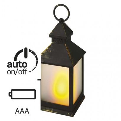 LED dekorace –  lucerna mléčná, 6x 3x AAA, černá, vintage