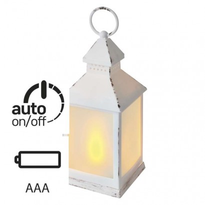 LED dekorace –  lucerna mléčná, 6x 3x AAA, bílá, vintage