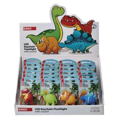 LED klíčenka – dinosauři se zvukem na LR54, 24 ks