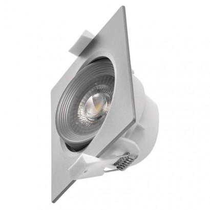 LED bodové svítidlo stříbrné, čtverec 7W teplá bílá