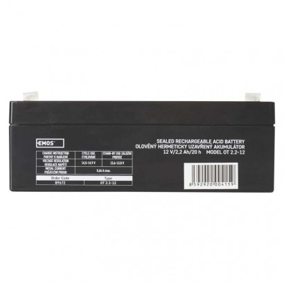 Bezúdržbový olověný akumulátor 12 V/2,2 Ah, faston 4,7 mm