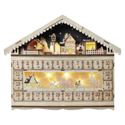 LED adventný kalendár drevený, 40x50 cm, 2x AA, vnútorný, teplá biela, časovač