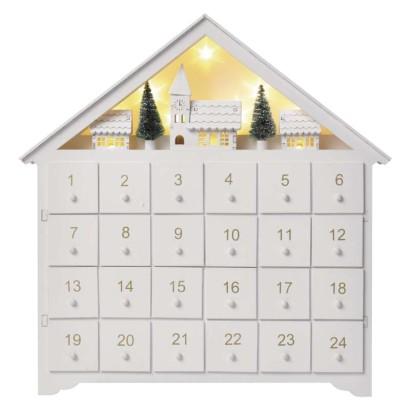 LED adventný kalendár drevený, 35x33 cm, 2x AA, vnútorný, teplá biela, časovač
