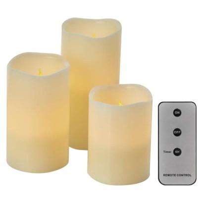 LED dekorácia – 3x vosková sviečka, 3x 3x AAA, vnútorná, vintage, ovládač