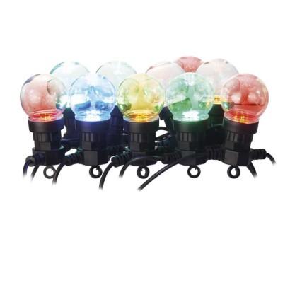 LED světelný řetěz – 10x párty žárovky, 5 m, venkovní i vnitřní, multicolor
