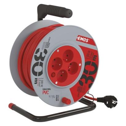 PVC prodlužovací kabel na bubnu – 4 zásuvky, 30m, 1mm2