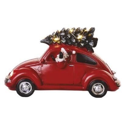 LED červené auto so Santom, 12,5 cm, 3x AA, vnútorná, teplá biela