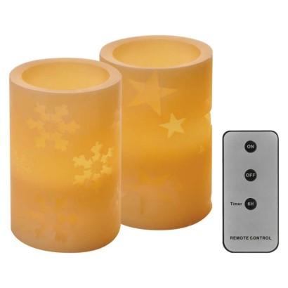 LED dekorácia – 2× vosková sviečka, 12,5 cm, 2× AA, ovládač, časovač