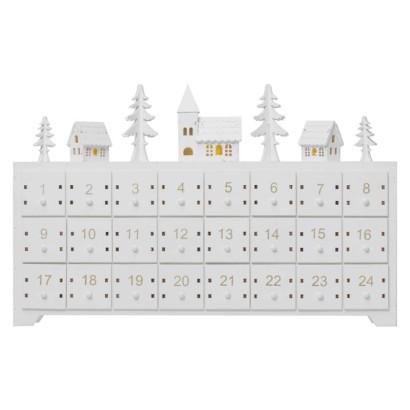 LED adventný kalendár drevený, 23x37 cm, 2x AA, vnútorný, teplá biela, časovač