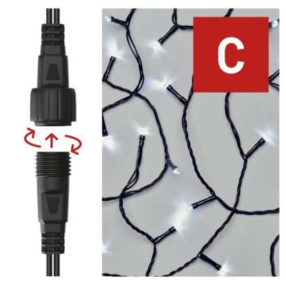 Standard LED spojovací vánoční řetěz, 10 m, venkovní i vnitřní, studená bílá, časovač
