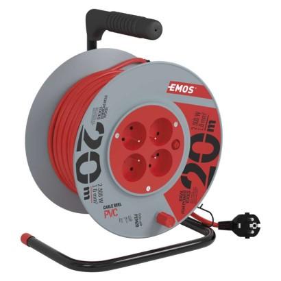 PVC prodlužovací kabel na bubnu – 4 zásuvky, 20m, 1mm2