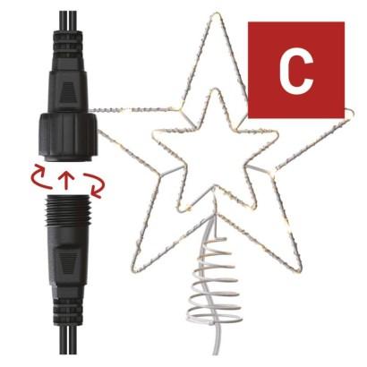 Standard LED spojovací vánoční hvězda, 28,5 cm, venkovní i vnitřní, teplá bílá, časovač