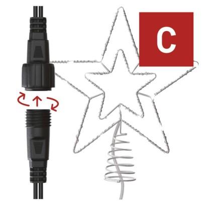 Standard LED spojovací vánoční hvězda, 28,5 cm, venkovní i vnitřní, studená bílá, časovač