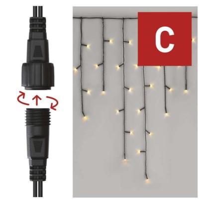 Standard LED spojovací vánoční řetěz – rampouchy, 2,5 m, venkovní, teplá bílá, časovač