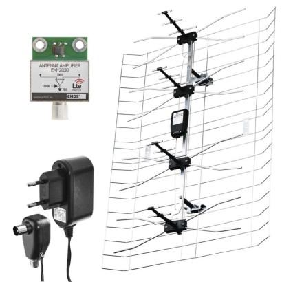 Venkovní anténa EMOS EM-030, 0–100 km DVB-T2