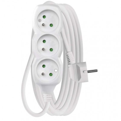 Prodlužovací kabel – 3 zásuvky, 5m, 3× 1,5mm2, bílý