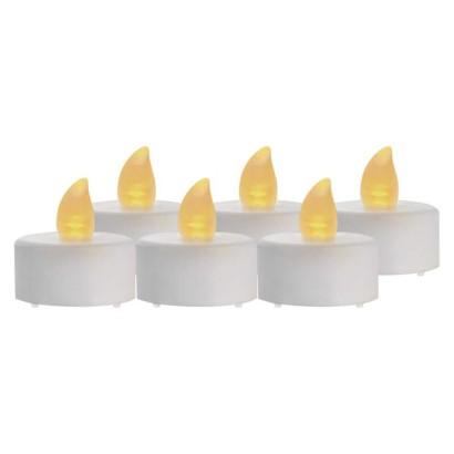 LED dekorácia – 6x čajová sviečka biela, 6x CR2032, vnútorná, vintage