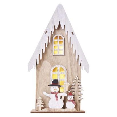 LED dekor. drevená – dom so snehuliakmi, 28,5 cm, 2x AA, vnútorná, teplá biela, časovač