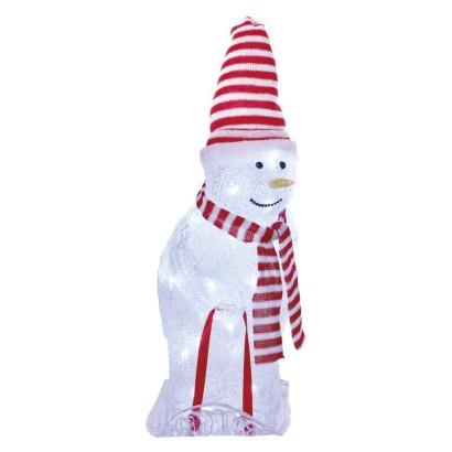 LED vánoční sněhulák s čepicí a šálou, 46 cm, venkovní i vnitřní, studená bílá