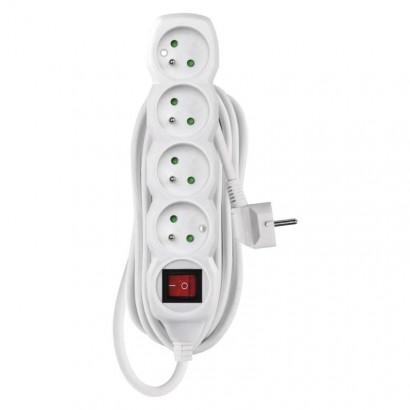 Prodlužovací kabel s vypínačem – 4 zásuvky, 5m, bílý