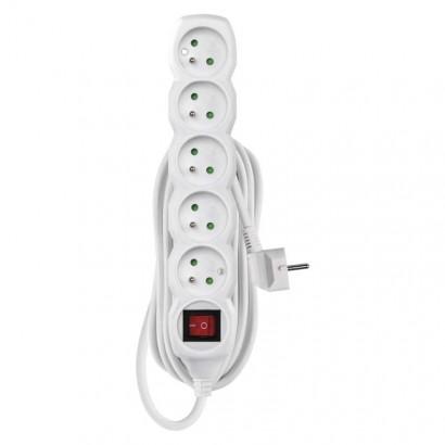 Prodlužovací kabel s vypínačem – 5 zásuvky, 5m, bílý