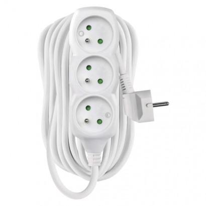 Prodlužovací kabel – 3 zásuvky, 10m, 3× 1,5mm2, bílý