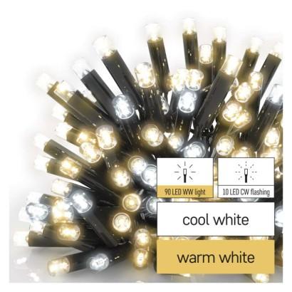 Profi LED spojovací řetěz problikávající, 10 m, venkovní, teplá/studená bílá